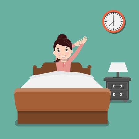 Business woman wake up early. Vector illustration.