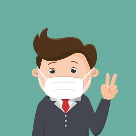 Business man wears a medical face mask. Vector illustration.