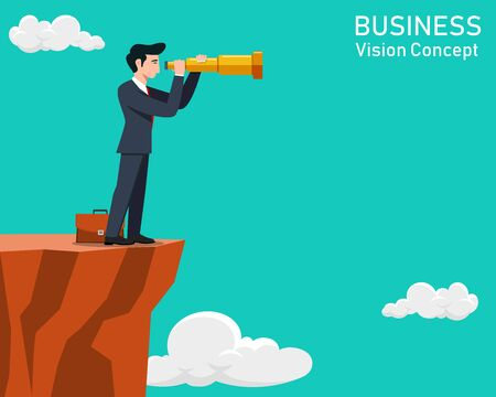 Man with telescope, Business vision concept. Vector illustration.