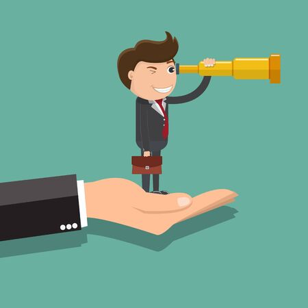 Businessman looking through binoculars standing on big hand, Business vision concepts, Vector illustration  Ilustrace
