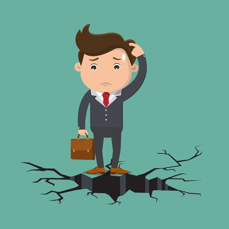 Business man standing on cracking floor.Vector illustration. Vectores