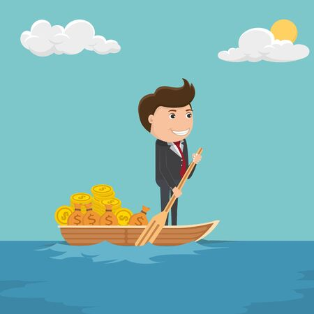 Businessman travelling in a boat carrying money and coins.Happy businessman with money - Vector illustration.