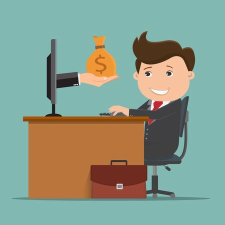 Business man being paid , Business man working on computer with hands holding money bag - vector illustration.  Illustration