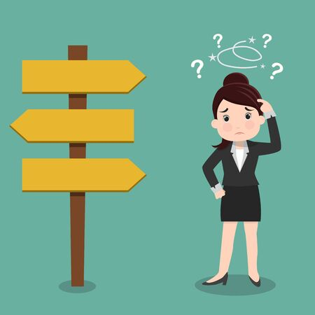 Confused, Business woman not know what to choose , vector illustration