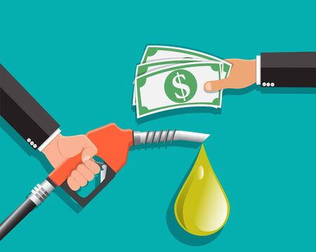 Buying petrol , Fuel pump in hand man in exchange for money , Payment for fuel , Vector illustration.