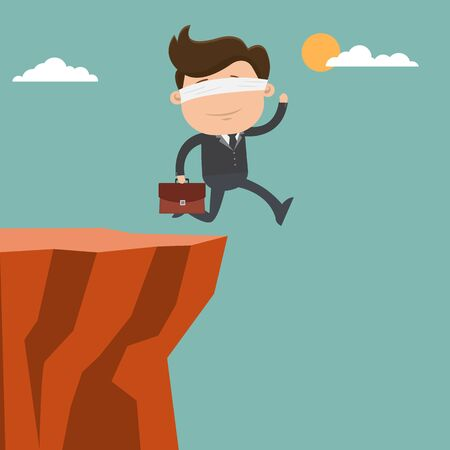 Businessman blindfolded and running to the cliffs - vector illustration
