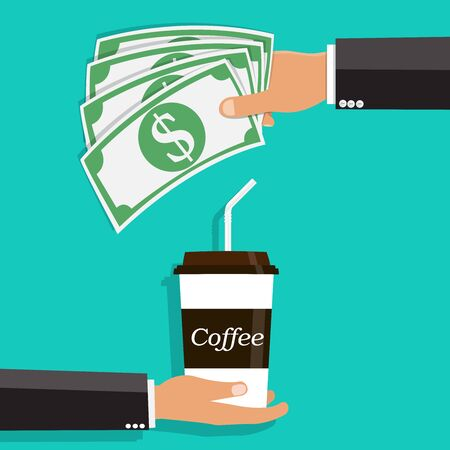 Hand Giving Cash and Buying a Coffee .Vector illustration.