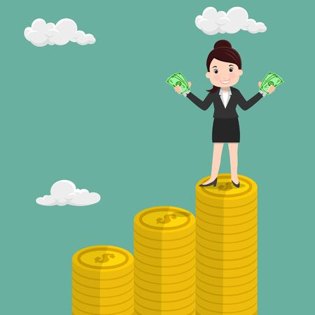 Happy Business woman standing holding money on the pile of coins - vector illustration  Çizim