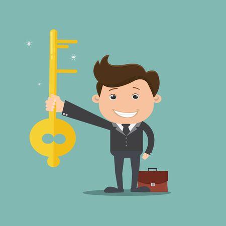 Businessman holding key - vector illustration