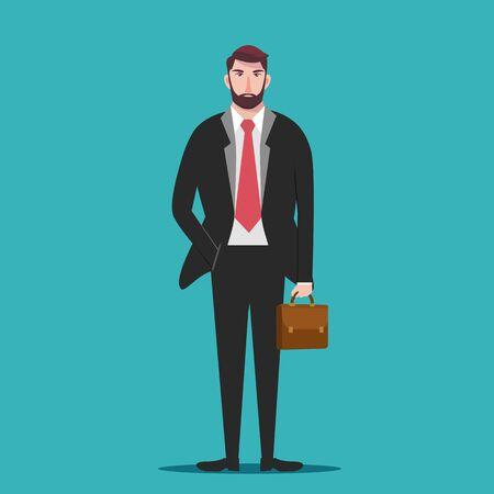 Handsome businessman, Business man standing holding a briefcase - vector illustration Illusztráció