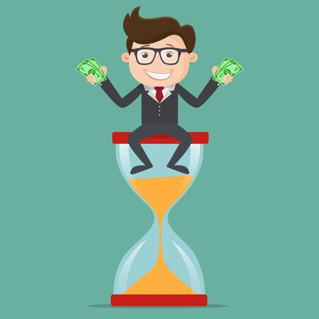 Businessman sitting on a hourglass and holding dollar bills in hand , Time is money business concept