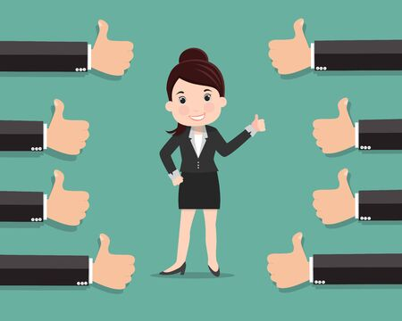 Business woman and many hands with thumbs up , Likes and positive feedback concept - vector illustration  Ilustrace
