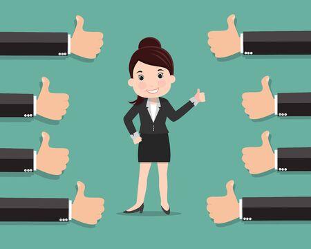 Mujer de negocios y muchas manos con pulgares arriba, gustos y concepto de retroalimentación positiva - ilustración vectorial