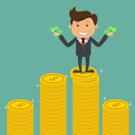 Happy Businessman standing holding money on the pile of coins - vector illustration