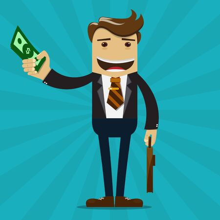 Businessman with money vector - Business Concept.