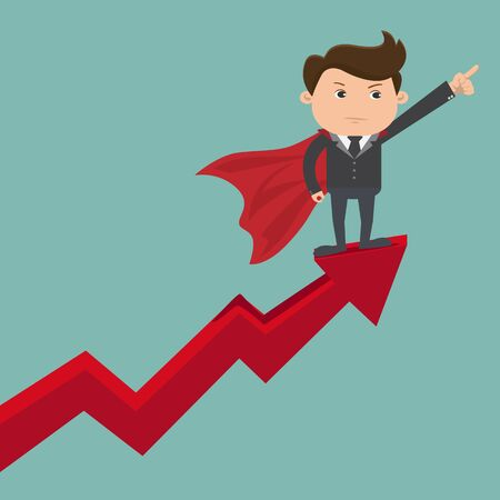 Businessman stand on arrow graph, Business concept - vector illustration Ilustracja