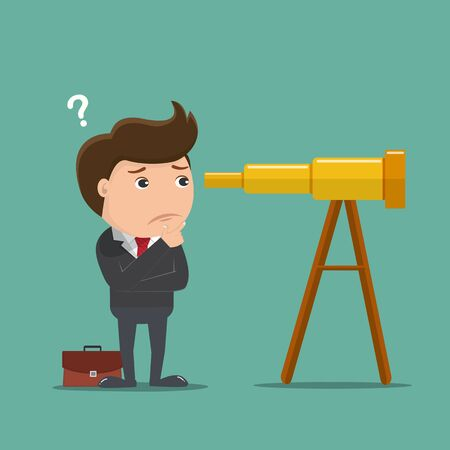 Businessman confused with telescope, Business concept - Vector illustration.
