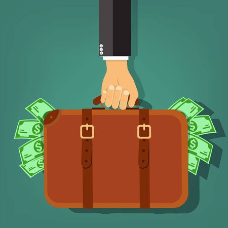 Businessman hand holding briefcase with money - vector illustration Vetores