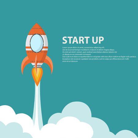 Lanzador de cohetes puesta en marcha, puesta en marcha de negocios - ilustración vectorial