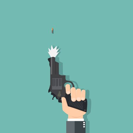Business hand holding a gun - vector illustration 向量圖像