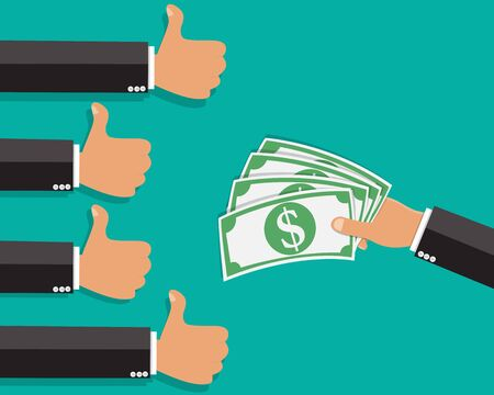 hand thump up sign with hand holding money , Thump up like vote for banknote money paying - Vector illustration.