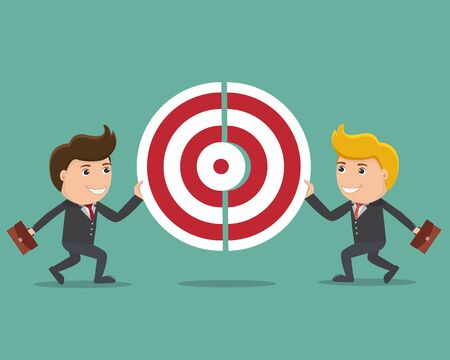 Two businessmen pushing a pieces of target. Team works to reach goal. Vector illustration flat style design.Business concept.
