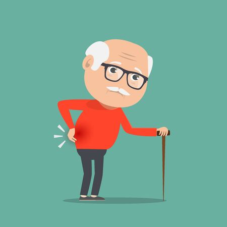 The old man has a backache.Vector illustration.  Ilustrace
