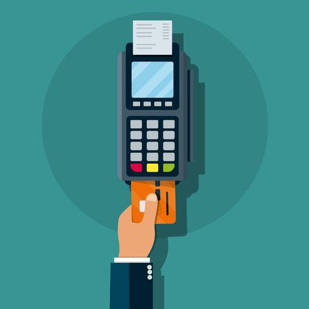 Credit card reader machine. Electronic payment . Hand holding POD terminal and pushing credit debit card in to it.