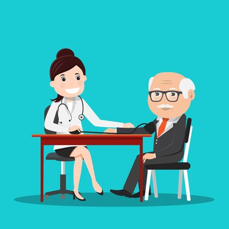 Doctor woman measuring blood pressure.Female doctor and male patient.Vector illustration.