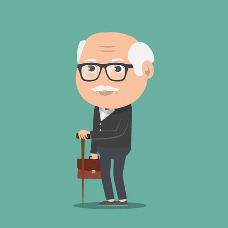 old man with stick - Vector illustration.   イラスト・ベクター素材