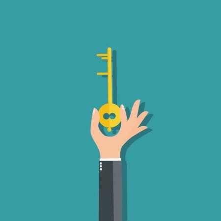 Business man holding key - vector illustration Illusztráció
