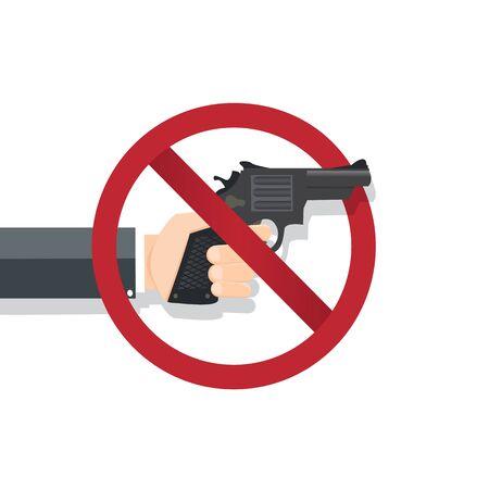 Hand holding no gun , No gun sing - vector illustration