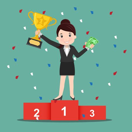 Happy business woman holding trophy cup with money - vector illustration Archivio Fotografico - 138294386