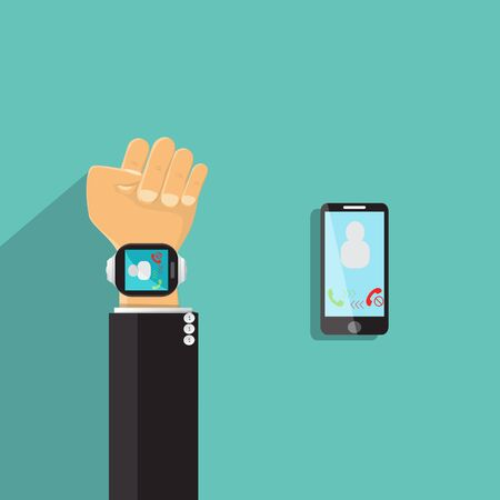 Smart watch and smart phone vector illustration - Business Concept Ilustrace