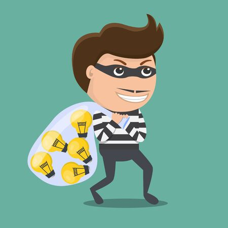 Thief stealing idea . Vector Illustration