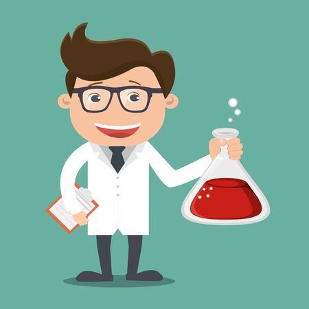 The scientist holding a test tube , Cute cartoon vector illustration of a scientist