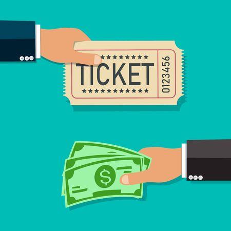 Koop tickets. Hand met geld en andere hand houdt ticket. Vectorillustratie.