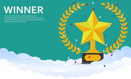 golden star award on the cloud.Flat star award, first place.Vector illustration