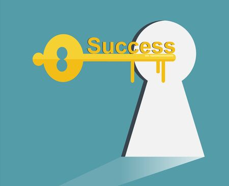 key to success , Key with word: success, business concept - Vector illustration.