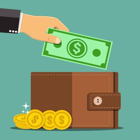Business hands putting cash dollars into wallet - Vector illustration.