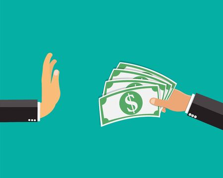 Business hand refusing to receive money,Vector illustration.