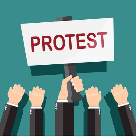 Hand holding protest  sign board isolated and the other hand - vector illustration