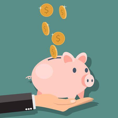 Money savings with piggy - vector illustration