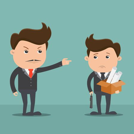 Employees getting fired by boss - Vector illustration 일러스트