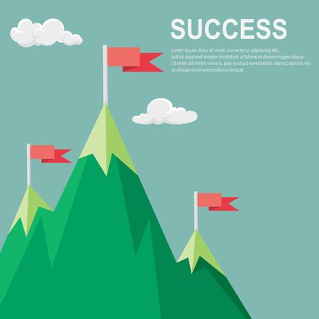 Vector flat flag on mountain , Success concept - vector illustration