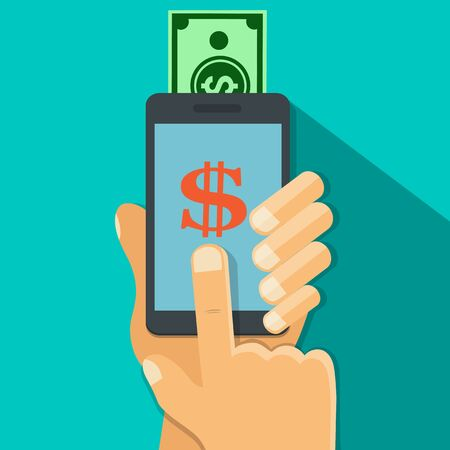 Hand holding smart phone with money transfer app on the screen,Long shadow - vector illustration