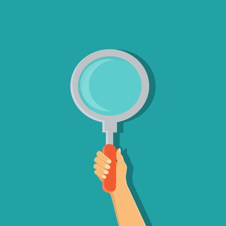 hand holding a magnifying glass - vector illustration
