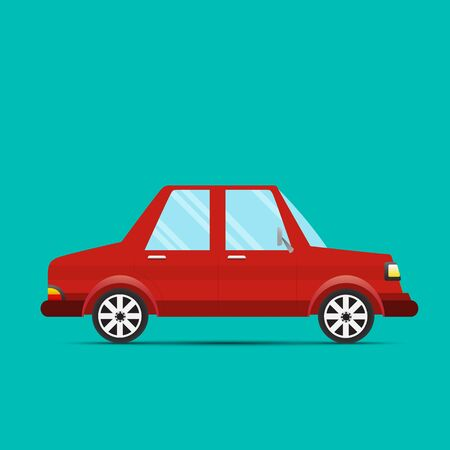 Red Car.A red car with a green background - Vector illustration. Foto de archivo - 138294170