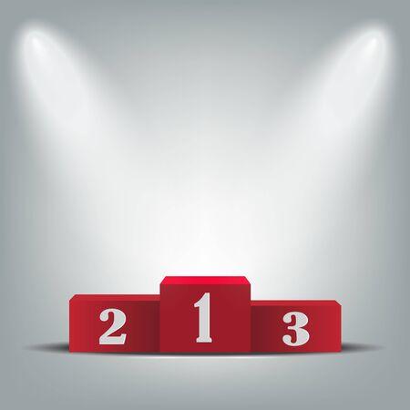 Podio rosso per i vincitori, illustrazione vettoriale della cerimonia di premiazione