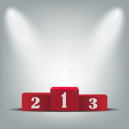 Red podium for the winners,Awards Ceremony vector illustration